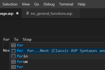 Visual Studio Code for Classic ASP coding?